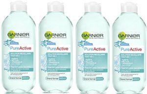 Garnier – SkinActive – Solution Micellaire Tout en Un – Peaux Mixtes, Grasses et Sensibles – Grand Format – Lot de 4 x 400 ml