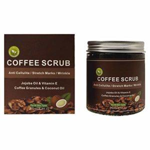 Gommage au café et au corps Crème exfoliante pour le visage Nettoyage du sel de la Mer Morte anti-cellulite et vergetures 250 ml