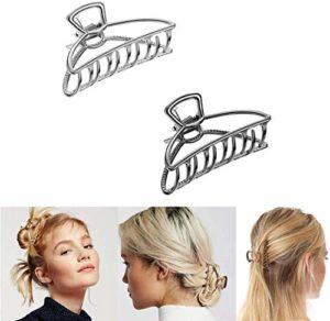 Grandes pinces à cheveux en métal, pinces à cheveux pour femmes, pinces à cheveux pour femmes, cheveux épais, pince à mâchoires creuse antidérapante pour cheveux (or + or rose / argent + noir)