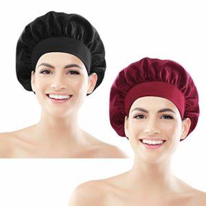 Heqishun 2 Pcs Bonnet de Couchage en Satin Bonnet de Nuit Large Bande Satin élastique Bonnet de Couchage Bonnet Respirant beauté Cheveux pour Femmes (Noir und Vin Rouge)