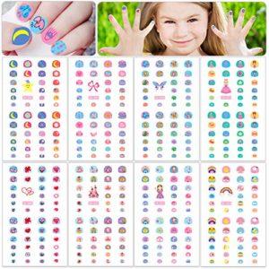 HOWAF 360+ Filles Enfants Mignon 3D Nail Art Autocollants Stickers Auto-adhésif Ongles Manucure Décorations pour Filles Ongles DIY Maquillage Accessories, Fleur Papillon Coeur Étoile Arc En Ciel