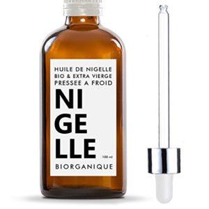 Huile de Nigelle 100% Bio, Pure et Naturelle – 100 ml – Soin pour Cheveux, Cuir chevelu, Corps, Peau