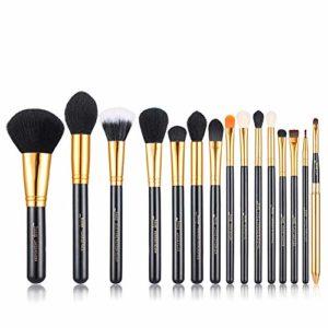 Jessup 15pcs Noir/Or Pro Pinceaux de maquillage Lot de brosse de maquillage Beauté Cosmétique Poudre Fond de Teint Fard à paupières Eyeliner Estompeur à lèvres Make Up Brosse outils T093