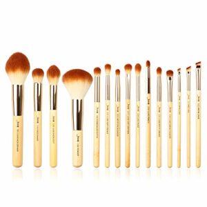 Jessup Marque Beauté 15pcs Pinceaux de maquillage kit d'outils Wodden Poignées Fond de teint Fard à paupières Rouge à lèvres Power Definer Tampon fait main en bambou Fibre Cheveux Lot T142