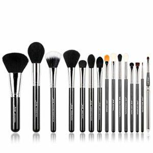 Jessup T092 Ensemble de 15pinceaux de maquillage professionnels pour fond de teint, fard à paupières, eyeliner, estompeur et lèvres Noir/Argent