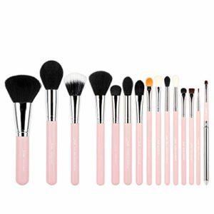 Jessup T094 – Lot de 15 pinceaux à maquillage professionnels pour poudre, fond de teint, fard à paupières, eyeliner, estompage, lèvres – Rose / Argenté