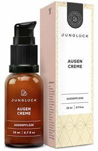 junglück – Crème contour des yeux – flacon en verre brun – pour des yeux pétillants et rayonnants – avec caféine/acide hyaluronique/vitamine C – naturel/vegan/durable/fabriqué en Allemagne – 20 ml
