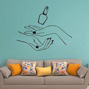 JXND Nail Salon de beauté Sticker Mural Motif de Polissage à la Main manucure Autocollant Mural Fille Nail Design Spa Vinyle Salle de Bain Art Mural 85×109 cm