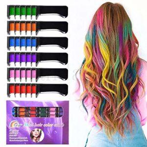 KalolaryCraie à cheveux pour filles– Paillettes métalliques pour toutes les couleurs de cheveux– Mastic intégré, pour teinture de cheveux pour enfants, fête et cosplay, 6couleurs