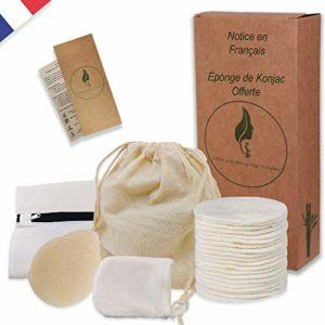 Kit Coton Demaquillant Reutilisable Soin Visage Bambou丨16 Disque Demaquillant lavable zero Dechet丨1 Pochon Tissu Coton + 1 Filet Lavage丨1 Gant Nettoyant Visage丨[OFFERT] 1 Eponge Konjac Gommage Visage