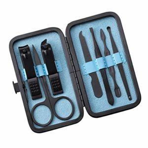 Kit de Manucure Coupe-Ongles Professionnel Kit 7Pcs Outils de Soins de Pédicure Ciseaux à Ongles Kit de Toilettage avec Étui Ciseaux à Sourcils Pince à Épiler Lime à Ongles