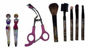 Kit de maquillage 8 pièces : outil recourbe-cils avec coussinets de recharge en silicone, ensemble de pinceaux de maquillage, duo brosse à sourcils, peigne à cils, et 2 pinces à épiler