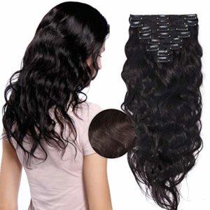 Kit Extension à Clip Cheveux Naturel 8 Bandes Vrai Cheveux Humain Ondulé Remy Hair – Epaisseur Doublée (#2 CHATAIN FONCE, 50cm (150g))