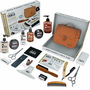 Kit/Set/Coffret d'entretien et de soin pour barbe et rasage avec Soin de barbier | Cosmetique Made in France ✮ BARBER TOOLS ✮