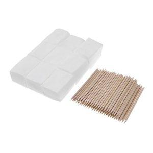 Lechnical 900 pcs Nail Coton Lingettes UV Gel Nail Conseils Polonais Remover Cleaner Lint Papier Pad + 100 pcs Bois Bâtons Cuticules Pusher Soins Outils