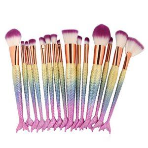 LEXUPE 15pcs Maquillage Base sourcil Eyeliner Blush pinceaux cosmétique anticernes(Multicolore,34)