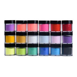 Lot de 18 poudres pour ongles en acrylique, 18 couleurs extra fines – Pour loisirs créatifs et loisirs créatifs – Pour travaux manuels, fabrication de cartes, fête, visage, yeux, cheveux, ongles