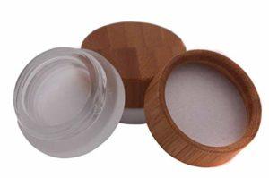 Lot de 2 mini pots de maquillage vides en verre givré avec couvercle en bambou écologique et doublure en polypropylène pour emballage de maquillage, fard à paupières, crème