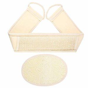 Lot de 2 serviettes de bain Luffa avec sangle pour le dos et le dos