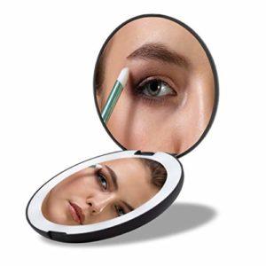 MEOREX Miroir Lumineux de Poche, Grossissant 1x / 10x – LED Miroir à Main de Maquillage avec Éclairage Naturel, 130mm de Diamètre, Compact et Portable pour Voyage