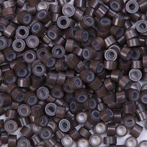 Micro Anneaux Micro Rings 5mm en Silicone & Aluminium Pour Extension Cheveux Naturel à Froid (500 PCS, BRUN CLAIR)