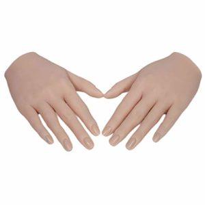 milageto Paire de Modèles D'ongles à Main Pratiques Mannequi D'affichage de Bijoux de Pratique – Peau Normale
