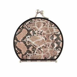 Mini sac à main miroir différent miroir de peau de serpent portable double face avec 2 X 1x grossissement pliant portable petit miroir de maquillage de voyage pour femmes filles dame