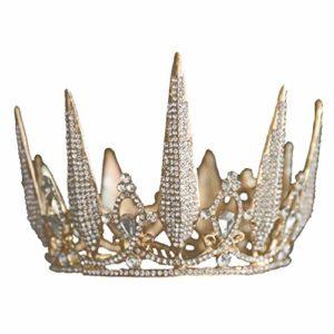 Minkissy Strass Couronne Tiara Volle Ronde Topper Princesse Cristal Chapeau pour Mariage Anniversaire Douche Bébé Party Dessert Décoration (Doré)
