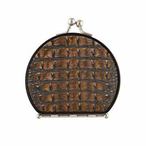 Miroir compact personnalisé mode imprimé peau de crocodile miroir de poche cosmétique double face avec 2 X 1x grossissement pliant miroir de maquillage portable chambre pour femmes filles dame