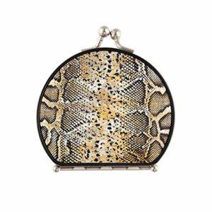 Miroir de maquillage de sac à main Miroir de poche de voyage en peau de serpent différent double face avec 2 X 1x grossissement miroir de maquillage portable pliant pour filles pour femmes filles da