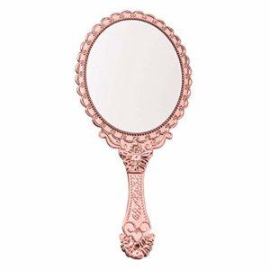 Miroir de Poche avec poignée Vintage Compact pour Maquillage Personnel Vanity Voyage Soins de la Peau Salon Miroir à Main 9,8 x 4,5 po doré