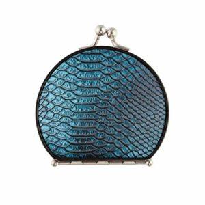 Miroir de sac à main compact mode imprimé peau de crocodile filles miroir compact double face avec 2 X 1x grossissement pliant petit miroir compact portable pour hommes pour femmes filles dame