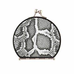 Miroir de voyage à main différente peau de serpent joli miroir de maquillage double face avec grossissement 2 X 1 miroir cosmétique portable pliant portable pour femmes filles dame