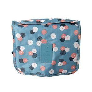 MoGist Trousse de Toilette à Suspendre de Voyage Sac à cosmétiques Sac de Rangement 1 Pcs Blue Flower Style Taille Environ 24X19.5Cm Déroulement Environ 41.5Cm Matériau Tissu Oxford