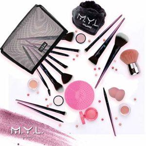 M.Y.L. Set de pinceaux de maquillage professionnels, bandeau pour femme, nettoyant pour cheveux, pochette cadeau de Noël