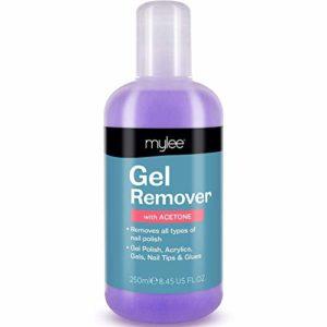 Mylee Dissolvant Gel à l'Acetone 250ml, Nettoyant Salon Professionnel pour Vernis à Ongles UV / LED pour Manucures et Pédicures