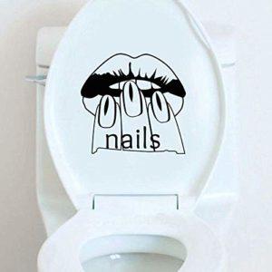 Nail Femme Manucure Décor À La Maison Sticker Mural Toilettes Autocollant
