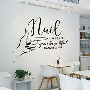 Nail Salon Stickers Muraux Manucure Studio Logo Enseigne Main Spa Femme Vinyle Autocollant Décoration De La Maison Salon De Beauté Salle De Bain 65X57Cm