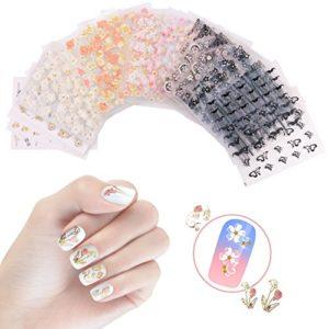 Nicedeco 50 Feuilles Mix Couleur 3D Design Auto-adhésif Nail Art Sticker Autocollant à Ongles bricolage
