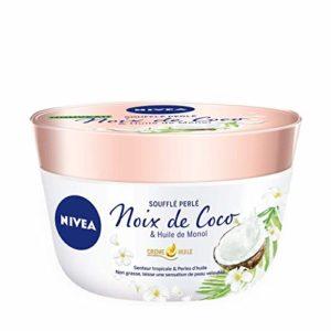 NIVEA Baume Corps Soufflé Perlé (1 x 200 ml), soin corps hydratation 24 h, baume hydratant à l'huile de monoï et au parfum tropical de noix de coco