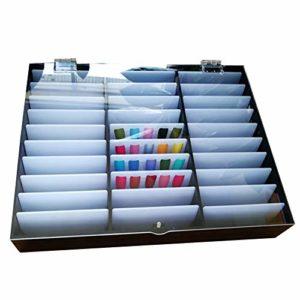 NTMD Boîte de Rangement, 30 Grids Maquillage boîte de Rangement Ongles Conseils Strass Perle Portable Nail Container réglable Décorations Bijoux Organisateur (Color : Black)