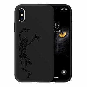 Oihxse Ultra Mince Silicone Case Compatible pour iPhone 11 Coque Souple Mignon Gommage Protection Housse Creatif Motif Bumper Etui Doux Antichoc Cover(Noir-Crâne)