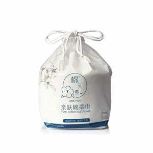 OUKAIDE Serviette de toilette jetable en coton non tissé, essuie-mains jetables pour le maquillage, serviettes de beauté jetables 100 pièces par rouleau