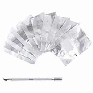 OZAUR 200 Paquet Papillotes Ongles d'Aluminium avec une Repousse Cuticule Ongle Tin Foil d'aluminium avec le Coussinet Pré-Trempé Enlève le Gel à Ongles Rapidement et Facilement pour Salon