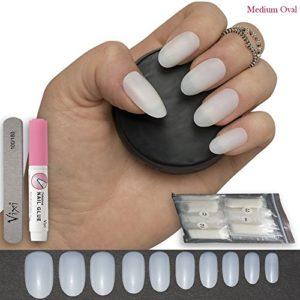 Par Vixi, 600 ongles Ovale, 10 tailles – Moyen Opaque faux ongles, couverture complète. Avec GRATUITES COLLE ET LIME DE PRÉPARATION