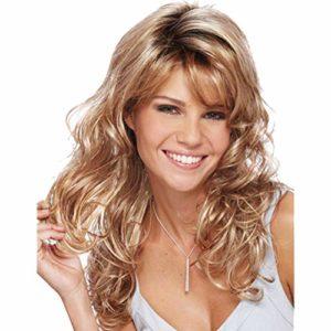 Perruque Lkklily – long cheveux bouclés et ondulés pour femmes – Fausse coiffure en fibres chimiques dorée
