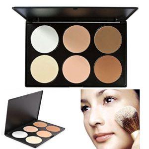 Poudre pressée, TOFAR 6 Couleurs Palette de Maquillage Poudre Compacte Poudre Pressée Fonds de teint naturelle Make Up Palette Professionnel Beauté Cosmétique Set – #1