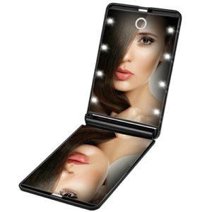 Rantizon Miroir de Poche 8 LEDs Miroir Illuminé de Maquillage Miroir Portable Maquillage 1X & 2X Grossissant Double Face Ajustable Lumière Pliable pour le Maquillage Voyage