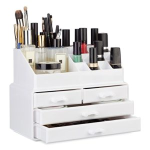 Relaxdays Organisateur cosmétiques 2 parties boîte rangement maquillage Make up 12 porte-crayons, blanc