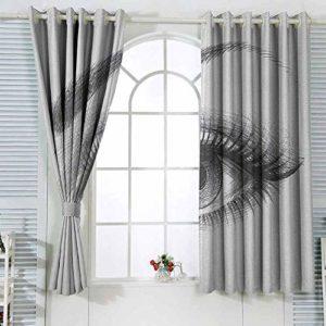 Rideaux de cuisine – Crayon pour yeux – Œil de femme – Œil étoilé – Longues cils et sourcils courbés – Durable – 72 x 63 cm – Gris blanc